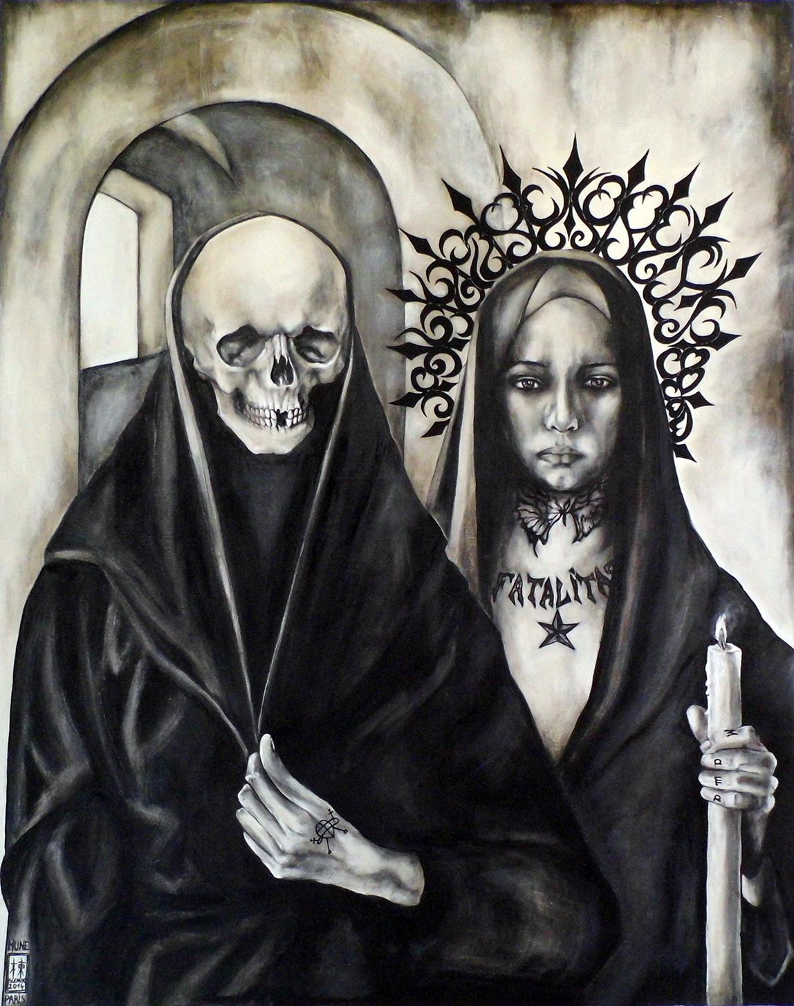 Peinture la fatalit la jeune femme et la mort mune - Tableau tete de mort castorama ...